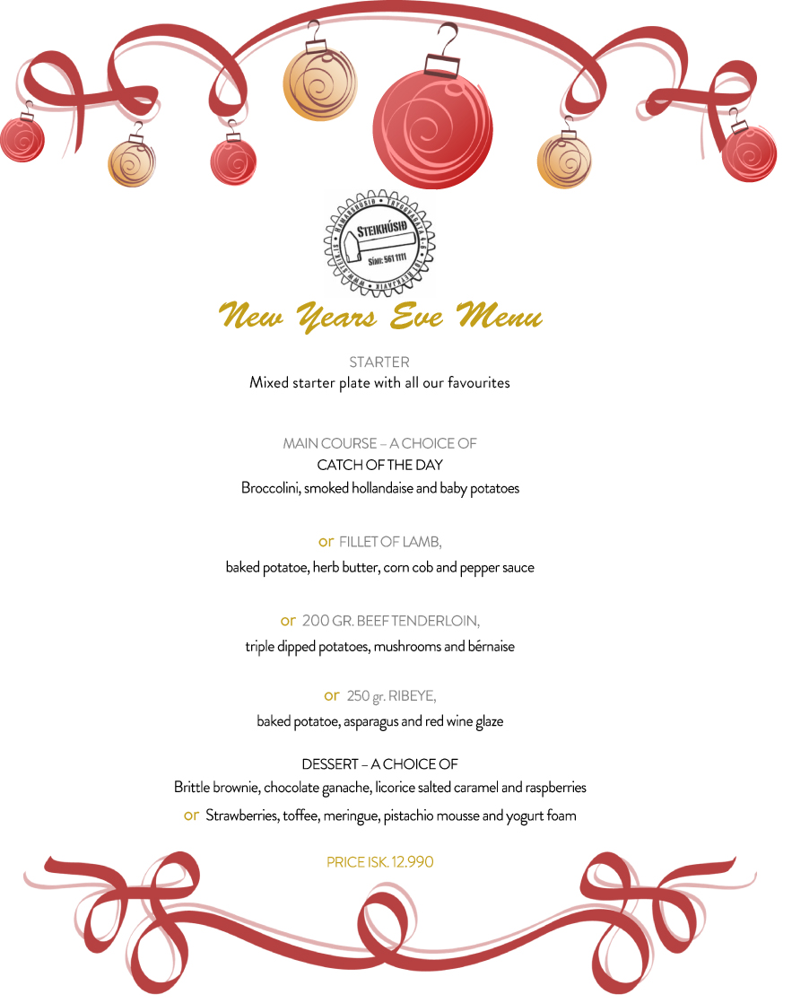 Holiday party invitation with blue and green ornaments (Formal d ...